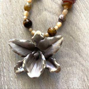 Karen Hill Tribe Silver Orchid Pendant Beaded OOAK